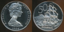 World Coins - New Zealand, 1984 Fifty Cents, 50c, Elizabeth II - Proof