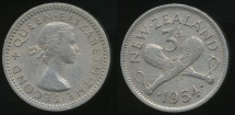 World Coins - New Zealand, 1954 Threepence, 3d, Elizabeth II - Extra Fine