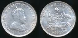 World Coins - Australia, 1910 One Shilling, 1/-, Edward VII (Silver) - almost Uncirculated