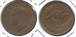 World Coins - Australia, 1950(p) Halfpenny, 1/2d, George VI - Extra Fine