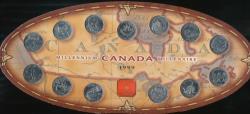 World Coins - Canada, 1999 Millennium 25 Cent Canadian Mint set of 13 coins