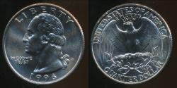 World Coins - United States, 1996-D Quarter, 1/4 Dollar, Washington - Uncirculated
