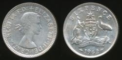 World Coins - Australia, 1962 Sixpence, 6d, Elizabeth II (Silver) - Extra Fine