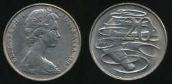 World Coins - Australia, 1967(c) Twenty Cents, 20c, Elizabeth II - Uncirculated