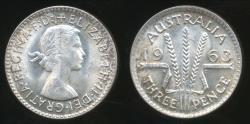 World Coins - Australia, 1963 Threepence, 3d, Elizabeth II (Silver) - Uncirculated