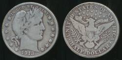 World Coins - United States, 1913-D Half Dollar, Barber (Silver) - Fine