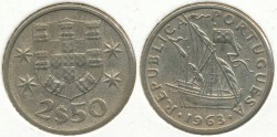 World Coins - PORTUGAL - 1963, 2-1/2 Escudos, KM# 590