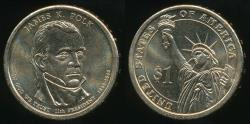 World Coins - United States, 2009-P James K. Polk Presidential Dollar, $1 - Uncirculated