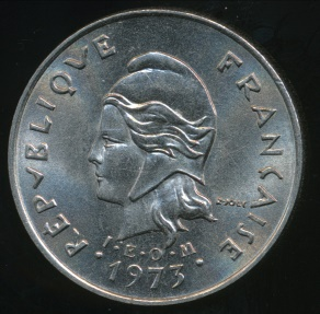 World Coins - New Hebrides, French/British Condominium, 1973 10 Francs - Uncirculated