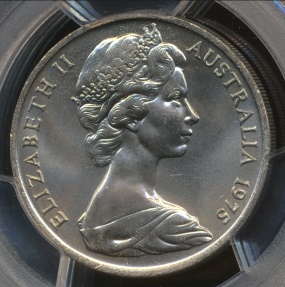 World Coins - Australia, 1975 Twenty Cents, 20c, Elizabeth II - PCGS MS66