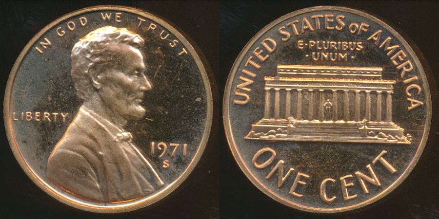 World Coins - United States, 1971-S One Cent, Lincoln Memorial - Proof