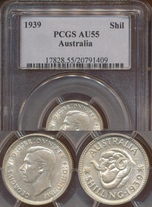 World Coins - Australia, 1939 Shilling, George VI - PCGS AU55