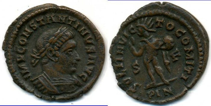 Ancient Coins - CONSTANTINE I, AE-Follis, AD 306-337, London mint, (23mm, 3.38 gm), Struck AD 313-314 - RIC VII 10