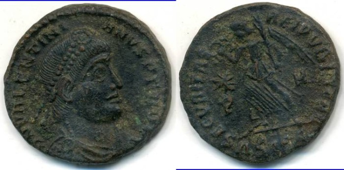 Ancient Coins - VALENTINIAN I, AE-3, AD 364-375, (18mm, 2.94 g) Siscia mint, Struck 367-375 AD - RIC 15a