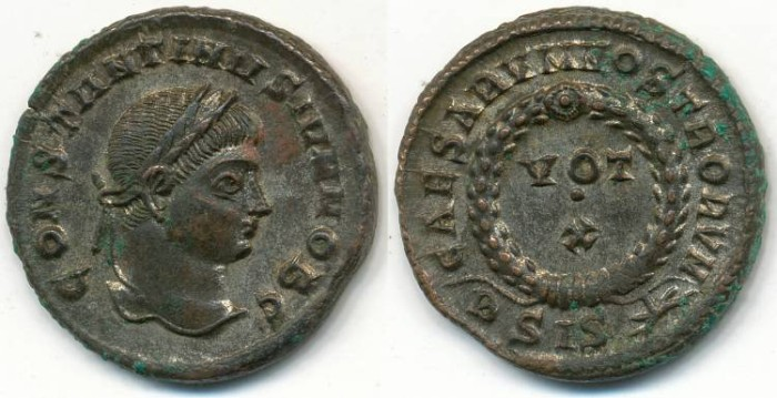 Ancient Coins - CONSTANTINE II, AE-3, AD 317-340, Siscia mint, Struck AD 321-324, (19mm, 3.56gm) - RIC VII, 182
