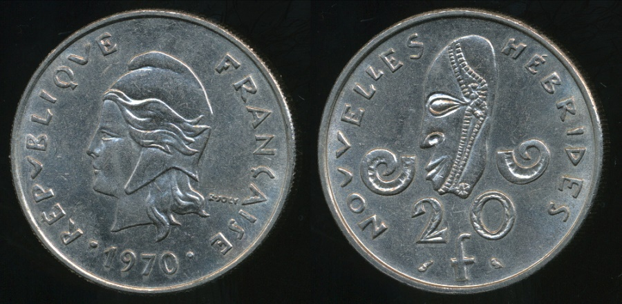 World Coins - New Hebrides, French/British Condominium, 1970 20 Francs - Extra Fine