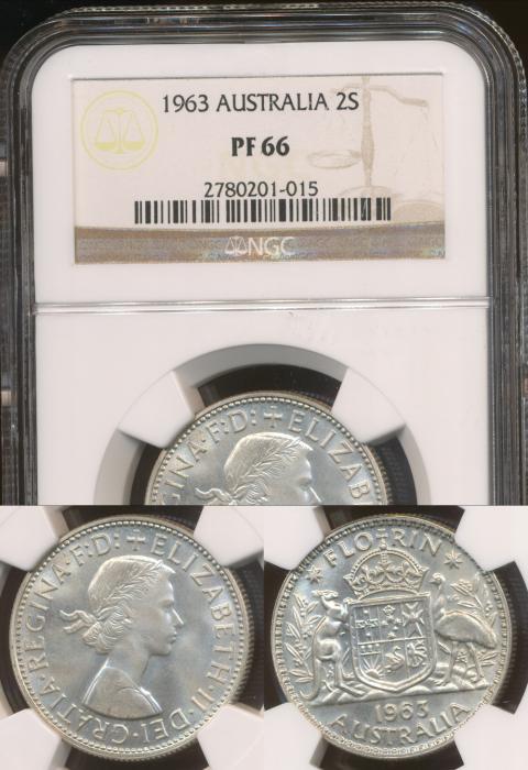 World Coins - Australia, 1963 Florin, Elizabeth II - NGC PF66