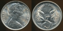 World Coins - Australia, 1970 Canberra 5 Cent, Elizabeth II - Choice Uncirculated