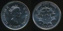 World Coins - Canada, Confederation, 2000 25 Cents, Elizabeth II (Freedom) - Uncirculated