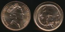 World Coins - Australia, 1989 One Cent, 1c, Elizabeth II - Uncirculated