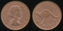 World Coins - Australia, 1964(p) One Penny, 1d, Elizabeth II - Uncirculated