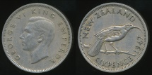 World Coins - New Zealand, 1947 Sixpence, 6d, George VI - Very Fine