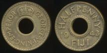 Fiji, Republic British Administration, 1943(s) Halfpenny, 1/2d, George VI - Very Fine