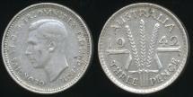 World Coins - Australia, 1942-S Threepence, 3d, George VI (Silver) - Very Fine
