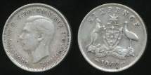 World Coins - Australia, 1942(m) Sixpence, 6d, George VI (Silver) - Fine