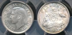 World Coins - Australia, 1951(m) Sixpence, 6d, George VI (Silver) - PCGS MS63 (Ch-Unc)