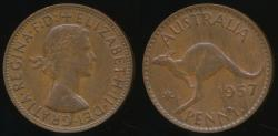 World Coins - Australia, 1957(p) One Penny, 1d, Elizabeth II - Very Fine