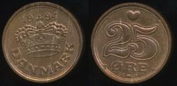 World Coins - Denmark, Kingdom, Margrethe II, 1994 25 Ore - Uncirculated