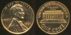 World Coins - United States, 1961 One Cent, Lincoln Memorial - Proof