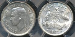 World Coins - Australia, 1951(m) Sixpence, 6d, George VI (Silver) - PCGS MS64 (Ch-Unc)