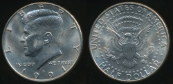 World Coins - United States, 1991-D Half Dollar, Kennedy - Uncirculated
