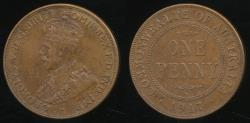 World Coins - Australia, 1917 One Penny, 1d, George V - Extra Fine