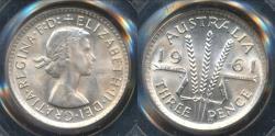 World Coins - Australia, 1961(m) Threepence, 3d, Elizabeth II (Silver) - PCGS MS65 (Gem Unc)