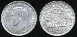 World Coins - Australia, 1938 Florin, 2/-, George VI (Silver) - almost Uncirculated