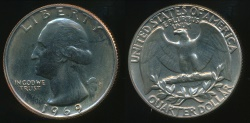 World Coins - United States, 1969-S Quarter, 1/4 Dollar, Washington - Proof