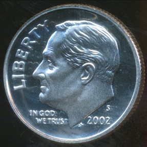 World Coins - United States, 2002-S Dime, Roosevelt (Silver) - Proof