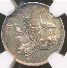 World Coins - Australia, 1917(m) Threepence, George V (Silver) - NGC MS62