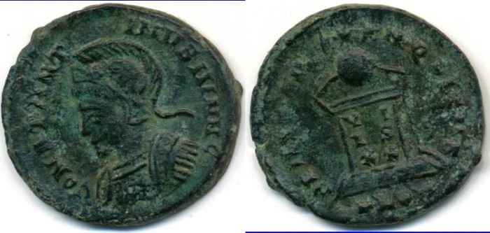 Ancient Coins - CONSTANTINE II, AE follis, AD 317-340, London mint, (19mm, 2.74 g), Struck AD 323-324 - RIC VII 287