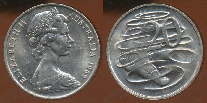 World Coins - AUSTRALIA - 1969 20c, Elizabeth II - aUnc (Ex Mint Roll)