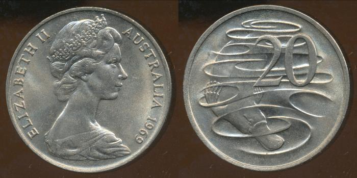 World Coins - AUSTRALIA - 1969 20c, Elizabeth II - Unc (Ex Mint Roll)