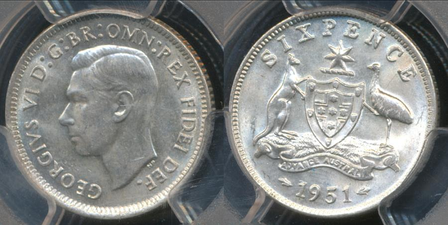 World Coins - Australia, 1951(m) Sixpence, 6d, George VI (Silver) - PCGS MS64 (Ch-Unc)