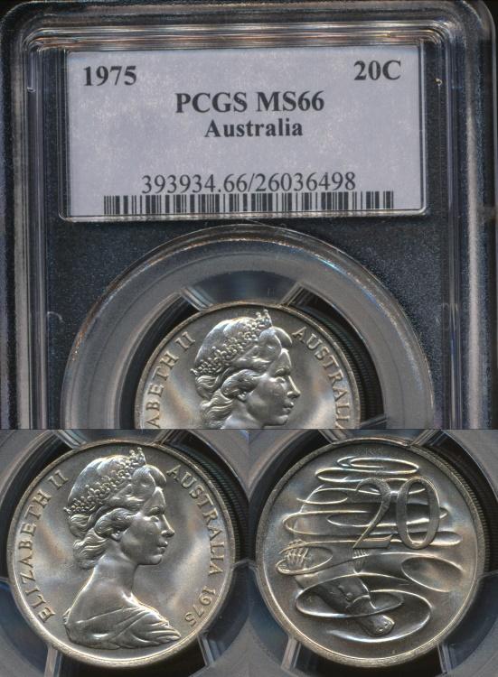 World Coins - Australia, 1975 Twenty Cents, 20c, Elizabeth II - PCGS MS66