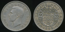 World Coins - New Zealand, 1948 1/2 Crown, George VI - Fine