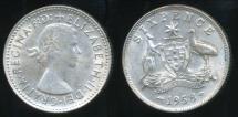 World Coins - Australia, 1958 Sixpence, 6d, Elizabeth II (Silver) - Very Fine