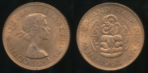 World Coins - New Zealand, 1963 Halfpenny, 1/2d, Elizabeth II - Choice Uncirculated