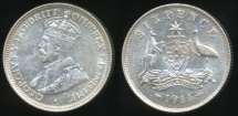 World Coins - Australia, 1911 Sixpence, 6d, George V (Silver) - Extra Fine